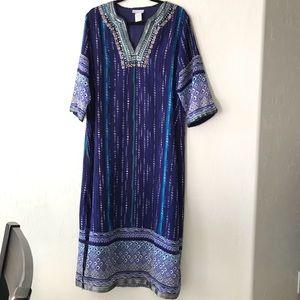 Soft Surroundings Blue Sheer Tunic Dress Beaded